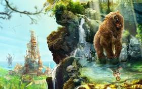 Обои город, отражение, гора, водопад, пасть, Медведь, стрелы