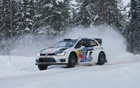 Обои Зима, Снег, Volkswagen, WRC, Rally, Polo, Sebastien Ogier