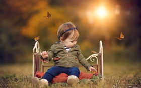 Обои бабочки, природа, ребёнок, кроватка