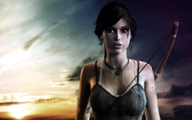 Обои закат, лук, красиво, Tomb Raider, тетива, Lara Croft