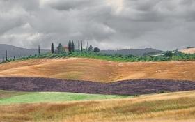 Обои облака, поля, Италия, слои, Тоскана, фермы