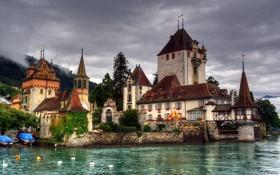 Обои озеро, замок, Швейцария, Castillo Oberhofen