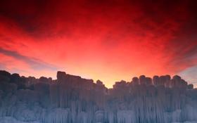 Обои лед, зима, небо, облака, зарево