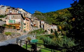 Обои горы, улица, дома, Италия, Liguria, Pigna