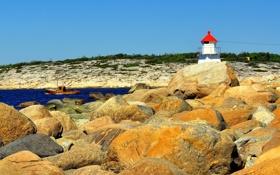 Обои море, камни, побережье, маяк, Норвегия, катер, Ostfold