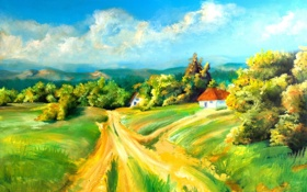 Обои дорога, облака, рисунок, дома, кусты, сопки