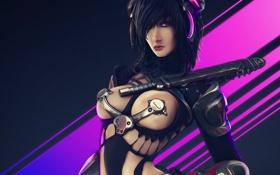 Обои грудь, девушка, линии, металл, оружие, робот, арт
