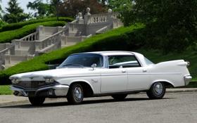Обои белый, трава, деревья, парк, Imperial, Chrysler, 1960