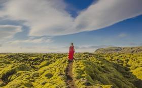 Обои платье, небо, голубой, девушка, ландшафт, контраст, зеленый