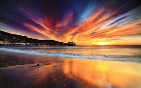 Обои море, пляж, небо, краски