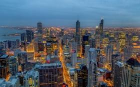 Картинка город, огни, небоскребы, вечер, Чикаго, панорамма, штат Иллиноис