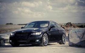 Картинка чёрный, бмв, BMW, black, 335i, передняя часть, 360 three sixty forged
