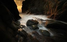 Картинка пейзаж, камни, океан, скалы, берег