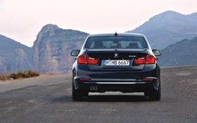 Обои Синий, BMW, Машина, Асфальт, Седан, 3 Series, Вид сзади