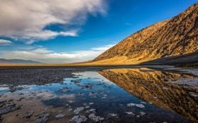 Картинка пейзаж, природа, озеро, отражение, гора