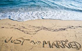 Обои песок, sea, пляж, beach, just married, sand, море