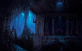 Обои арт, мужчина, пещера, призраки, трон, Tolkien, the Halls of Mandos