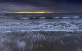 Обои солнечный свет, волны, тучи, горизонт, море