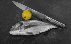 Картинка фон, лимон, рыба, нож