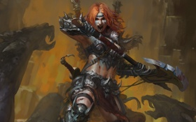 Картинка топор, fight, diablo 3, female, rage, barbarian