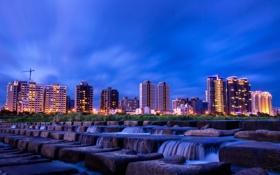 Обои пейзаж, город, река, камни