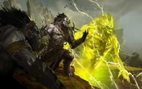 Обои воин, дух, Guild Wars 2, горы, тролль, молнии