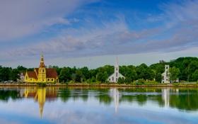 Обои небо, вода, город, фото, побережье, Канада, Lunenburg