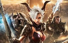 Обои город, оружие, доспехи, воины, Castanic, Human, Tera Online