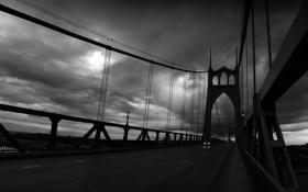 Обои дорога, машина, небо, тучи, мост, пасмурно, серость