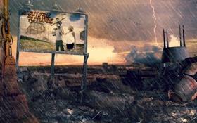 Обои гроза, дождь, реклама, семья, плакат