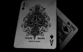 Обои темный фон, туз, black, карти
