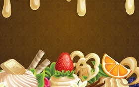 Обои абстракция, ягоды, сладость, шоколад, сливки, пирожное, фрукты