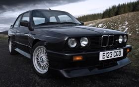 Обои BMW, БМВ, классика, передок, E30, 1988, Evolution II