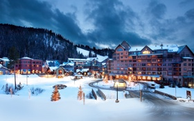 Картинка зима, лес, снег, город, вечер