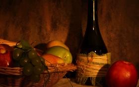 Обои корзина, яблоки, бутылка, виноград