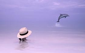 Картинка дельфин, девушка, фон, море, стиль