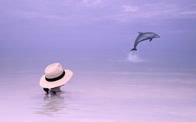 Обои море, девушка, дельфин, стиль, фон