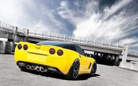 Обои жёлтый, Z06, Corvette, Chevrolet, шевроле, yellow, корвет