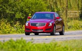 Обои Кадиллак, Красный, Передок, ATS, Cadillac, Авто, Фары