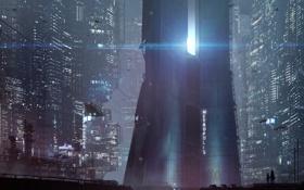 Обои ночь, город, будущее, небоскребы, metropolis