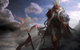 Обои облака, горы, азия, воин, арт, самурай, копье