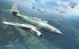 Картинка Небо, Облака, Самолет, Истребитель, Земля, Wargaming Net, World of Warplanes
