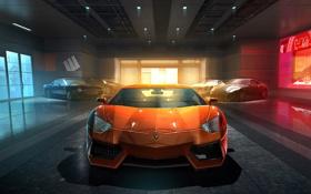 Обои авто, скорость, гараж, гонки, grid, art