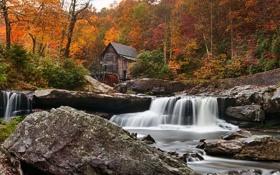 Картинка лес, река, осень, New River, Babcock State Park, мельница, Glade Creek Grist Mill