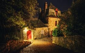 Картинка деревья, ночь, огни, дом, улица, лестница, ступени