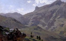 Обои пейзаж, горы, природа, картина, Пиренеи, Карлос де Хаэс, Агуас Буэнас