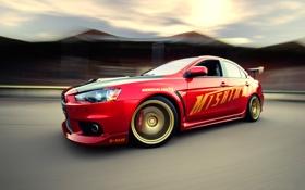 Обои красный, Mitsubishi, скорость, EVo