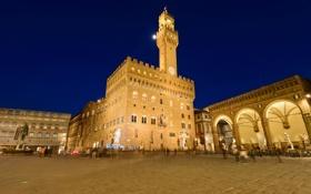 Обои небо, огни, вечер, Италия, Флоренция, скульптуры, Давид