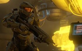 Картинка свет, интерфейс, солдат, Halo, броня, винтовка