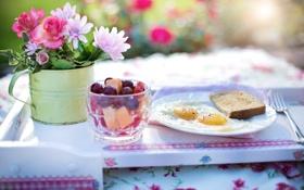 Обои цветы, стакан, ягоды, стол, завтрак, тарелка, хлеб